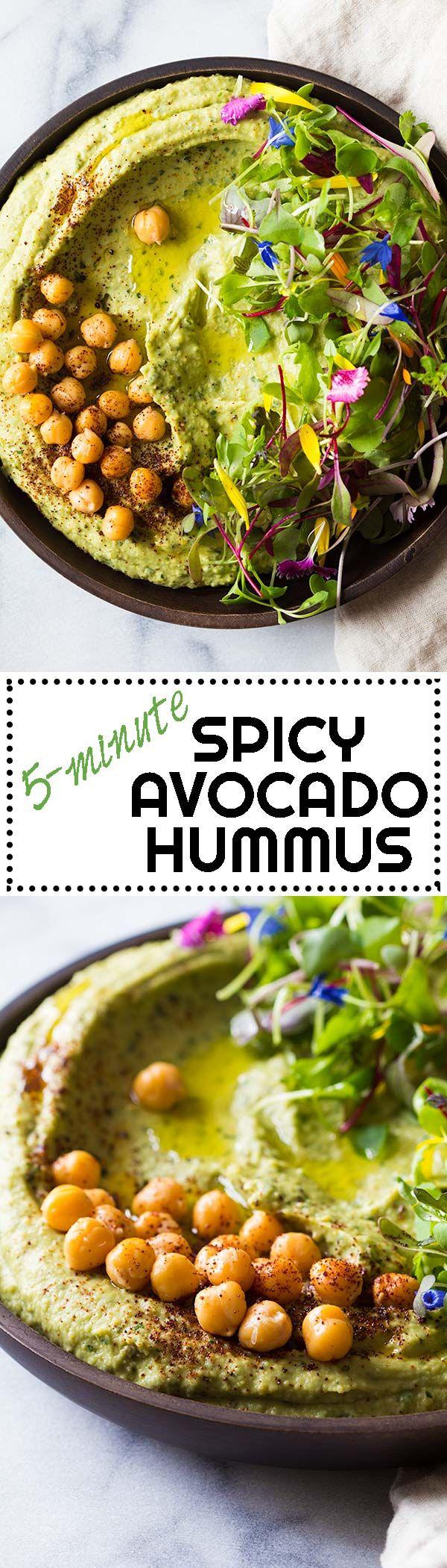 Call it what you want, Avocado Cilantro Hummus, Spicy Avocado Hummus, or 5-minute Hummus, one thing is for sure, this hummus tastes freakin' fenomenal! via @greenhealthycoo