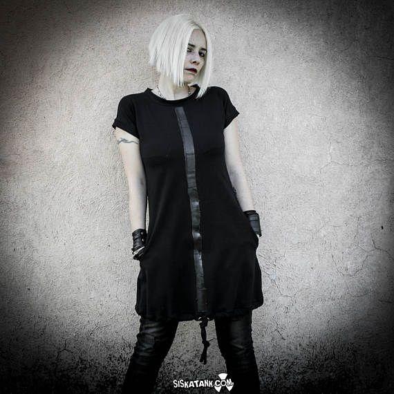 MALEKEN - Abito Nero Tunica in cotone Elasticizzato, Vestito maniche corte con tasche, Tunica Grunge Goth industrial Moda Alternativa