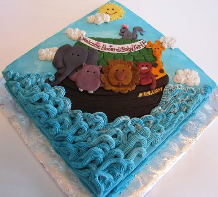 """Noah's ark cake .. i love this!! it would just need to say """"Boy"""" or """"Noah"""" instead of """"Girl"""" haha."""