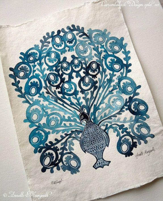 Blå påfugl - Original akvarell