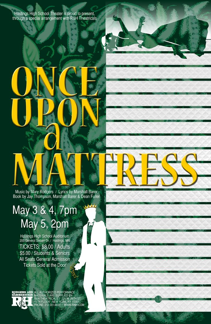 """Poster for the 2013 Hastings High School production of """"Once Upon a Mattress""""  ("""