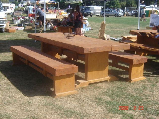 Wooden Outdoor Table Settings - Square Edge Slab - Large Size 2m $1670 2.4m $1940 3m $2490 4m $3640 - http://www.macsmacrocarpa.co.nz/page10.html