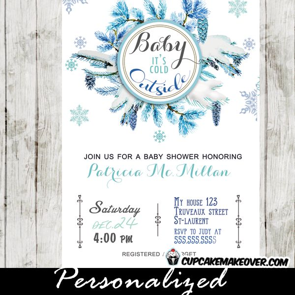 Winter Baby Shower Invitations Featuring A Beautiful Blue Wreath With  Frosted Pine Cones And Pretty Snowflakes