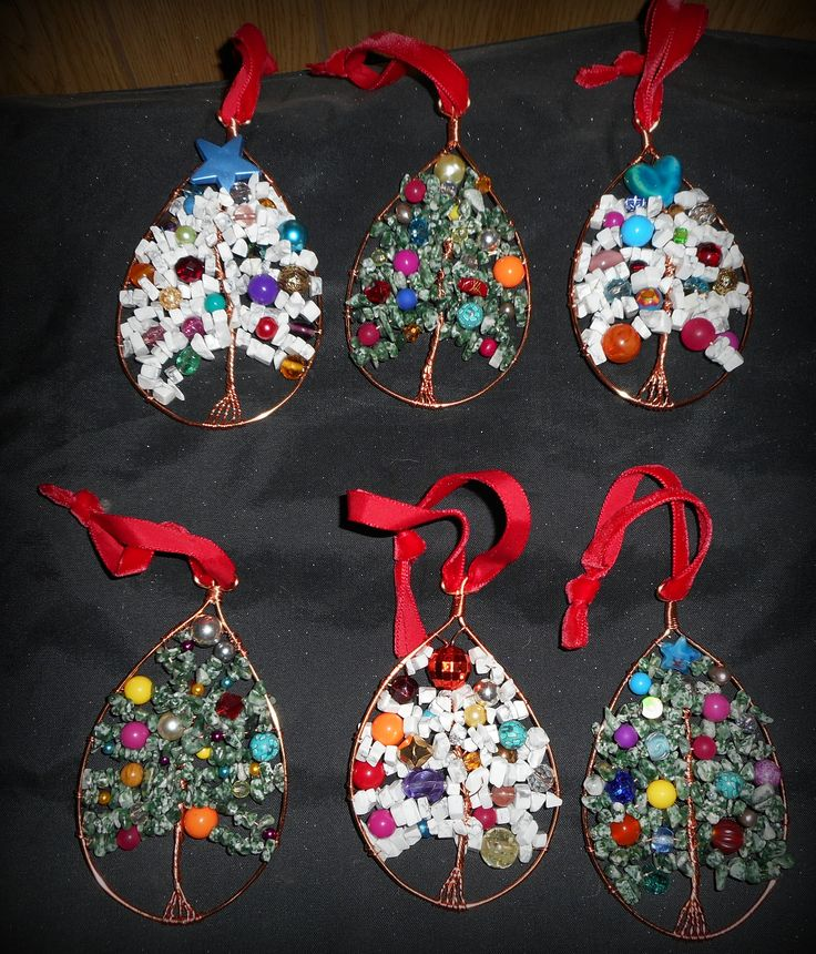 Gemstone, copper wire and bead Christmas decorations