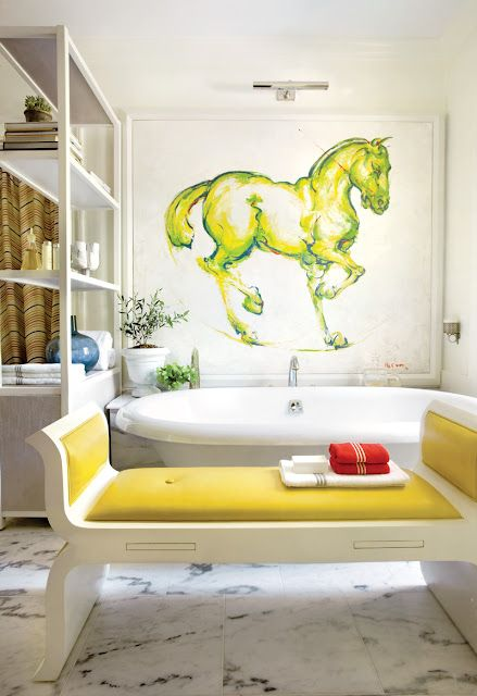 Love that horse mural! Room from the 40th annual Decorators' Show House & Gardens (Tuxedo Park, NY) #charleighscookies #equestrianlife #equinedecor