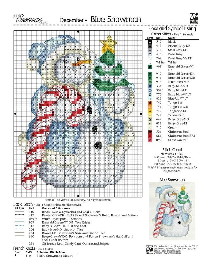 Cute DIY. Snowman cross stitch scheme
