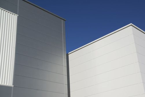 Industrial | Kingspan Insulated Panels | Roof Panels | Trapezoidal Roof | Lights | Rooflights | Grey | Gutters | Wall Panels | Micro-Rib | Curvewall | Black | Grey | Silver | Wall | Facade | Roof | Building Envelope