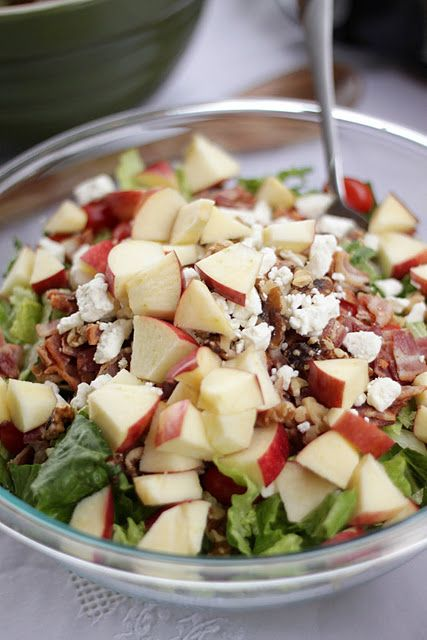 Amazing Raspberry Vinaigrette Salad! it has bacon, apples, walnuts, & feta cheese