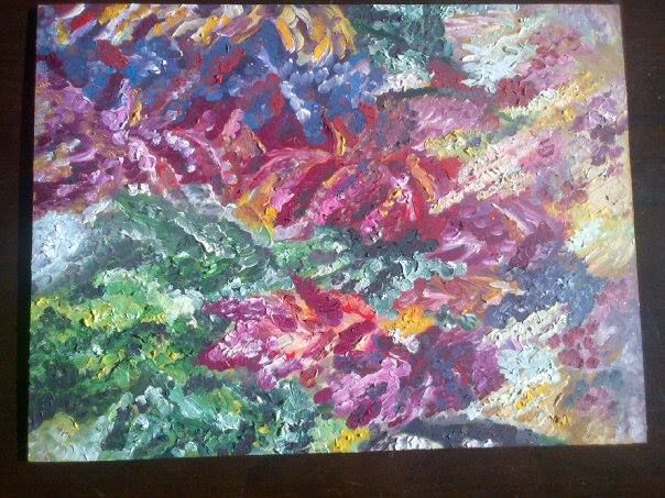 Floral oil abstract on board. So vibrant!