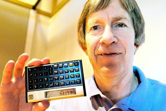 """Dennis Harms, pictured in 2006, helped create the HP 12c. CORVALLIS GAZETTE TIMES/ASSOCIATED PRESS // // Hewlett-Packard's HP 12c has inspired uncanny loyalty among a generation of financial-industry pros who have grown up with the instrument and its quirky features—such as """"reverse Polish notation""""—and who relish its snob appeal."""
