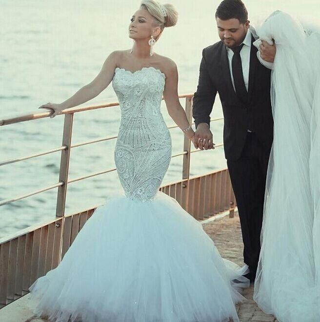 Gorgeous Lace Wedding Dresses Shinny Beaded Crystal Mermaid Bridal Gowns Sweetheart Vestido De Noiva Detachable Train Wedding Party Dress Style Wedding Dresses V Neck Mermaid Wedding Dress From Bridalmall, $166.93| Dhgate.Com