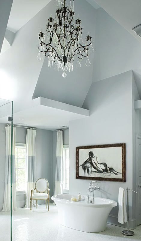 VALUE EMPHASIS: Use of a light-and-dark contrast to create a focal point within a composition. The contrasting black and white image becomes the focal point against the soft color scheme of the bathroom