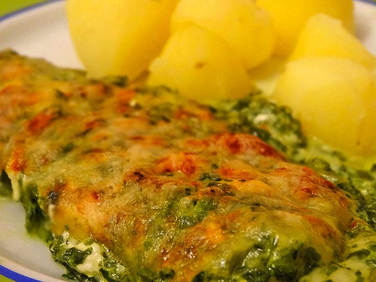 Seelachsfilet mit Spinat - Feta - Kruste 1 (Chickpea Salad Recipes)