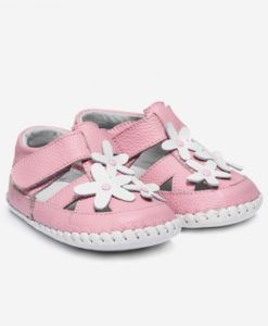 Little Blue Lamb | Avery | Baby girls sandals Pretty leather sandals with flower detail.