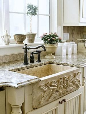 Carved soapstone farmhouse sink with ogee edged granite - Great kitchen sinks ...