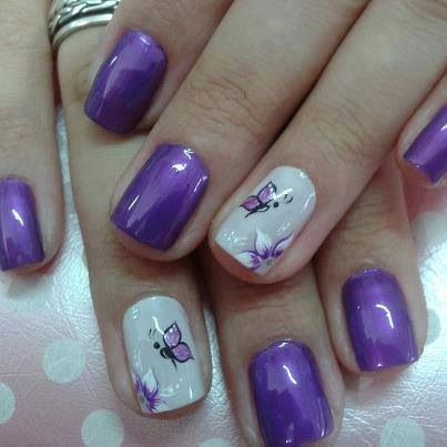 Purple and White Nails