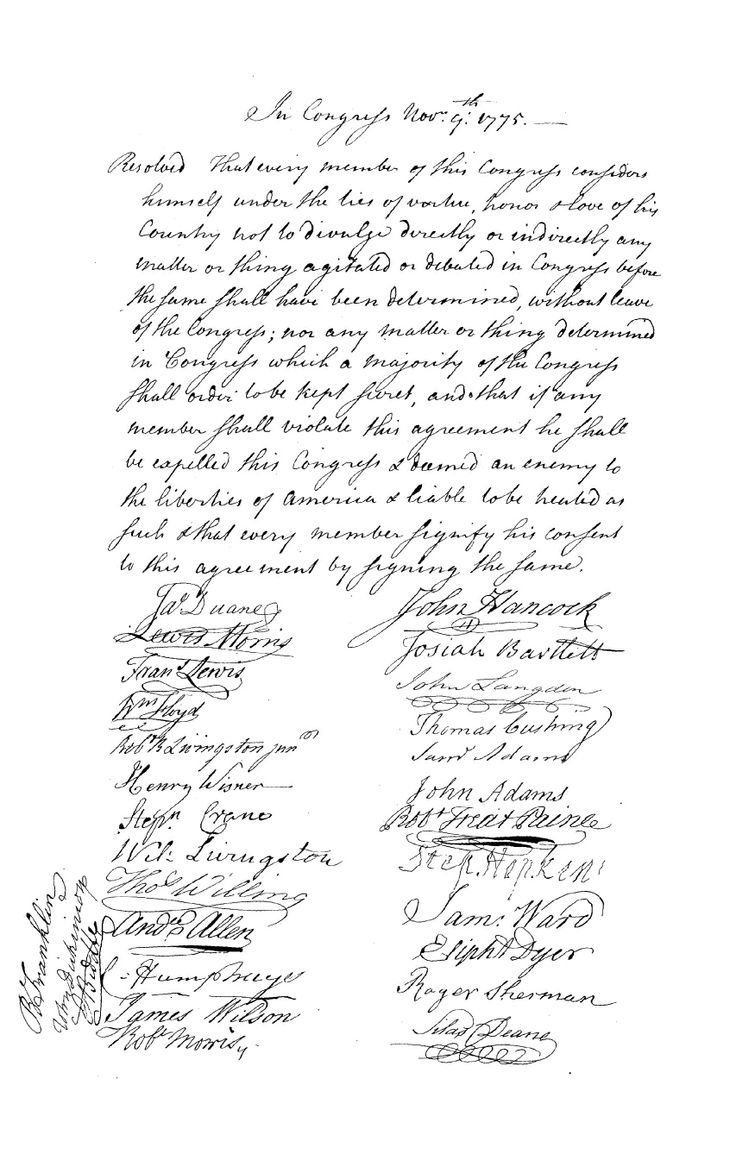 Articles of Secrecy from the first Continental Congress, signed by Samuel Ward