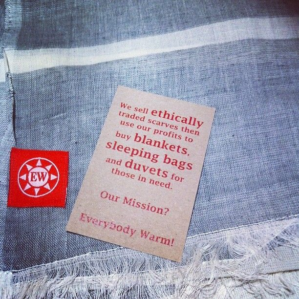 Scarf by Everybody Warm a social enterprise selling ethically made scarves and using profits to provide blankets to the homeless