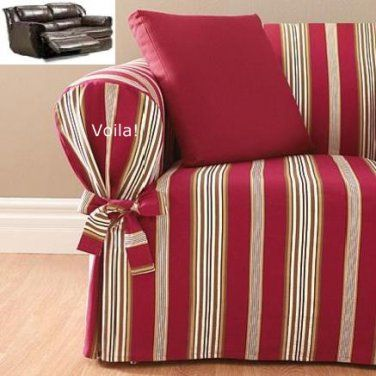 Sofa Table Reclining SOFA Slipcover City Stripe Burgundy Adapted for Dual Recliner Couch