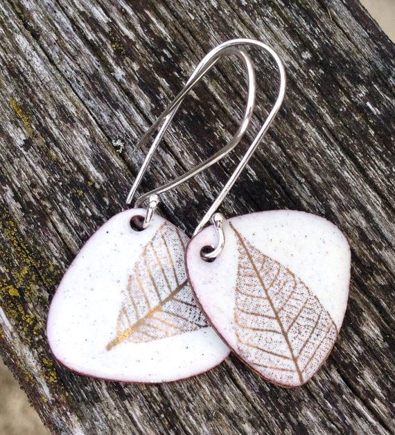 Oatmeal Vitreous Enamel Earrings With Gold Leaf Fused to the surface.
