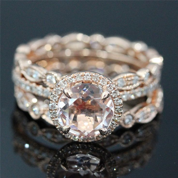 Set of 3 Rings/Bridal Set of 7mm Morganite Pave Diamond Engagement Ring and 2 Bezel Diamond Full Eternity Band - Vogue Gem