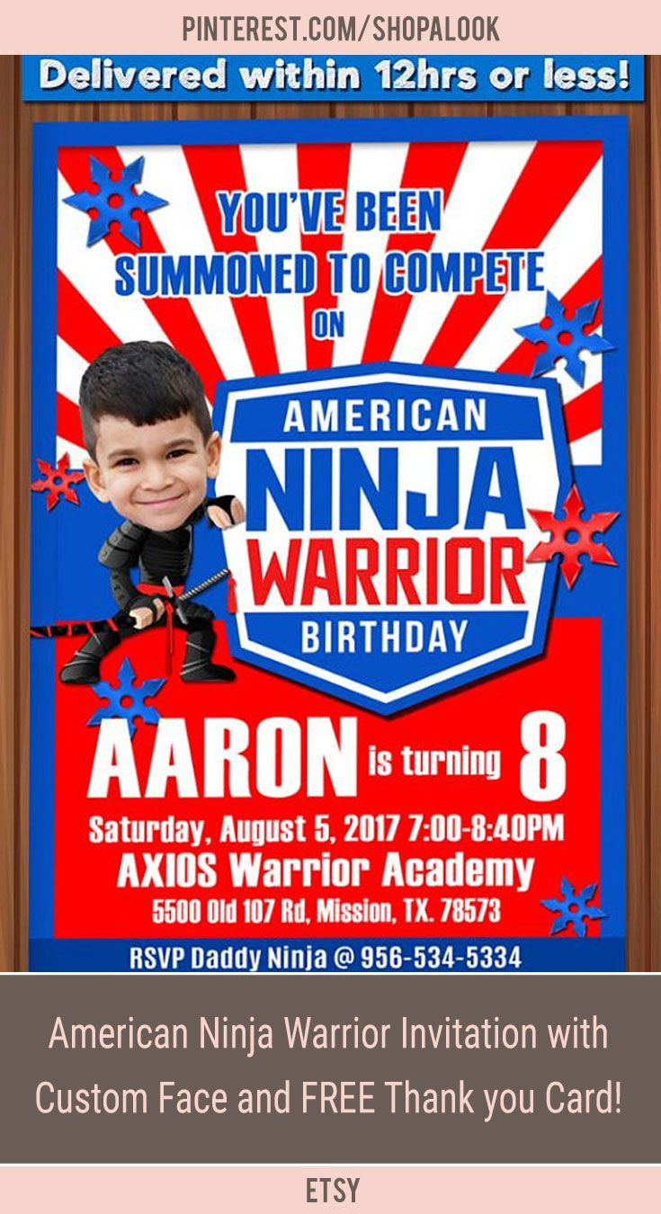 American Ninja Warrior Invitation With Custom Face And FREE Thank You Card ANW Birthday Australian Parkour Obstacle Course Afflink