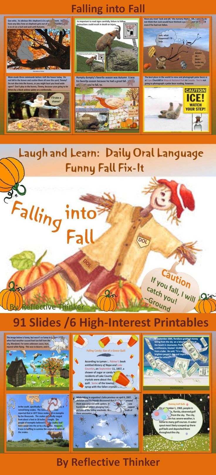 "Spice up language lessons this autumn with ""Falling into Fall,"" a resource filled with high-interest passages, printables, and pictures created to add pizzazz and humor to Daily Oral Language (DOL) and/or everyday edits. Many of the stories, which concern mysterious items that have fallen from the sky, are true. The DOL passages contain common grammatical errors made by all age groups. An awesome bell ringer activity this fall! #fall #dailyorallanguage #everydayedits #grammar #editing"