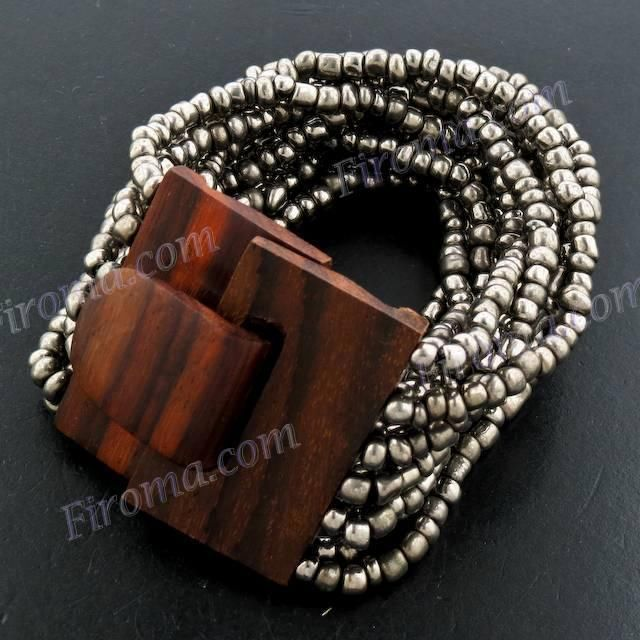 STYLISH WOOD BUCKLE PEWTER COLOR SEED BEADS bracelet #Beaded