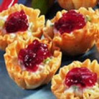 Cranberry Cream Cheese Crab Meat Phyllo Appetizers