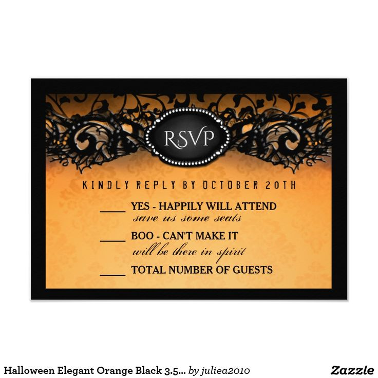Elegant Orange Black 3 5x5 Wedding Rsvp Card