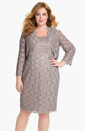 For MOB - Alex Evenings Sequined Lace Sleeveless Dress & Bolero (Plus Size) available at #Nordstrom
