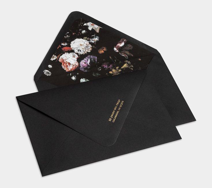 BLISS & BONE / Custom Designed Invitation Suite / Stationery Inspiration / Black botanical wedding invite design with gold foil / Modern / Dark Moody Floral / Flowers / The LANE