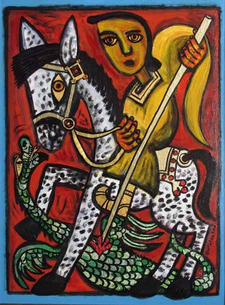 St George and the Dragon, 2010, by Brian Whelan, British Artist. Used with permission from Wikipedia, under the creative commons licence.