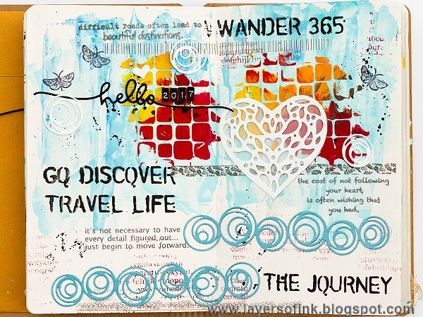 Layers of ink - Wander 365 Art Journal Page by Anna-Karin. Made for the Simon Says Stamp Monday Challenge Blog, with SSS exclusive DieCember dies, Tim Holtz stencils, and stamps by Wendy Vecchi.