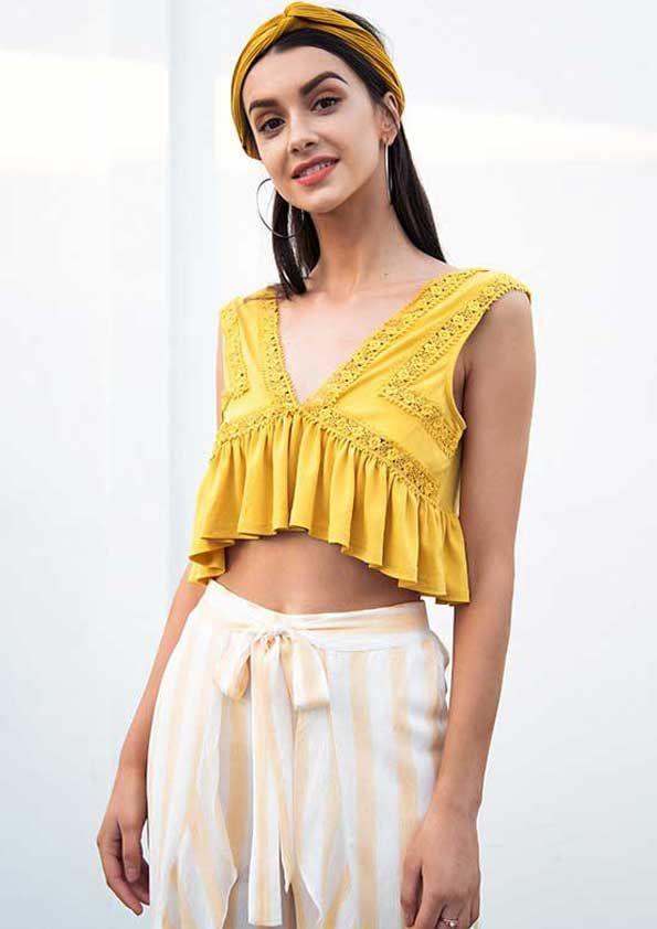 2ca4c28c22 Sexy v neck chiffon camisole tank top women Ruffle backless short shirt tee  2018 Summer casual streetwear lace crop top. High quality of chiffon fabric  to ...