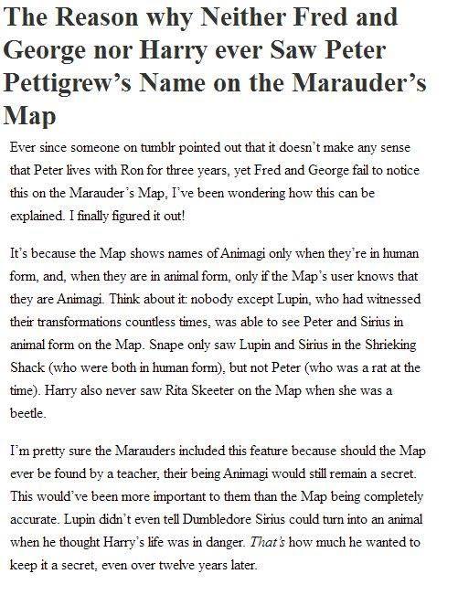 Peter Pettigrew/Marauder's Map Theory. o-o. Boom!
