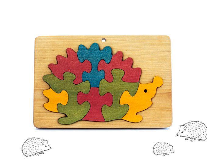 Puzzle en bois hérisson - Jigsaw Puzzle - cadeau pour enfant en bas âge - enfants - jouets Montessori - Puzzle animaux en bois jouet