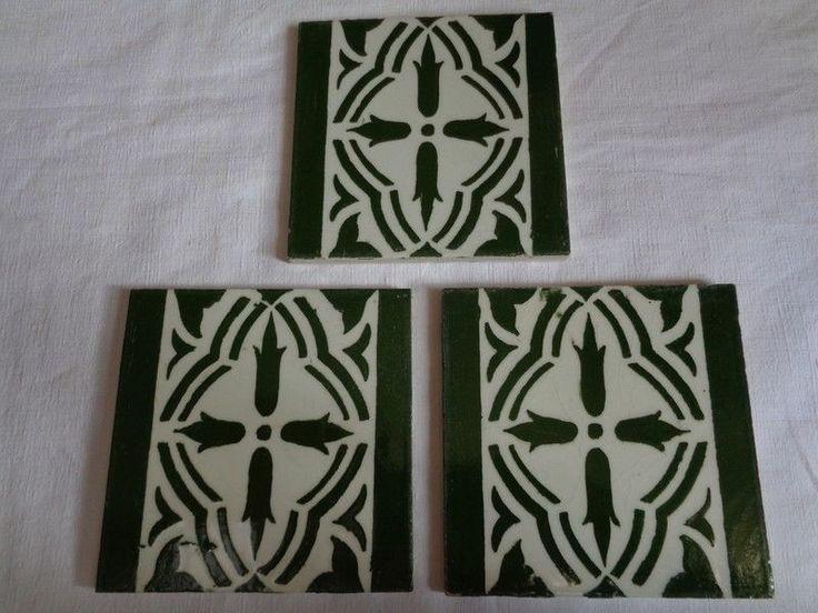 lot de 3 carreaux faience desvres vert et blanc n1 ebay - Faience Vert Et Blanc