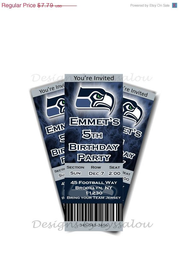 20% OFF SALE Seahawks Tickets Birthday by DesignsbyLyssaLou