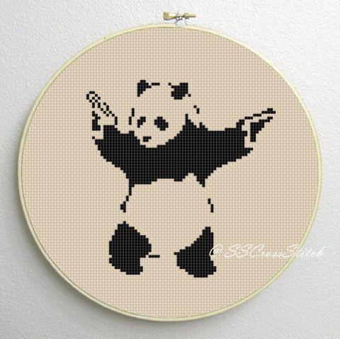 Counted Cross Stitch Pattern PDF panda with guns