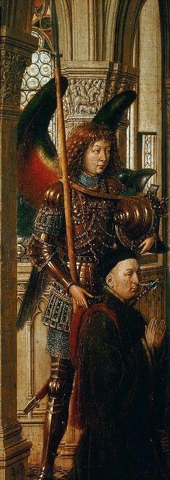 Дрезденский триптих (левая створка - Архангел Михаил с донатором). Ян ван Эйк