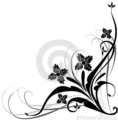 Vector art nouveau floral plant patterns.