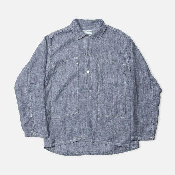 Sassafras Pruner Popover Shirt - lightweight cotton houndstooth pattern,  made in japan