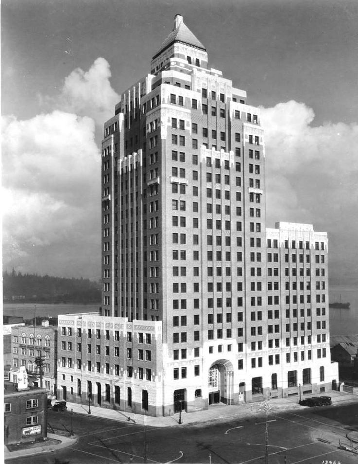 The Marine Building is one of Downtown Vancouver's art deco gems. Built in 1929, the Marine Building opened in 1930. It was the tallest building in the city for nearly a decade. (Photo by Leonard Frank, via Vancouver Archives)