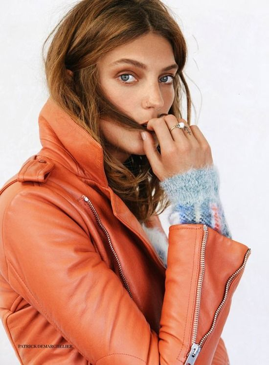 Daria Werbowy by Patrick Demarchelier wearing Balenciaga leather jacket | Vogue UK September 2013