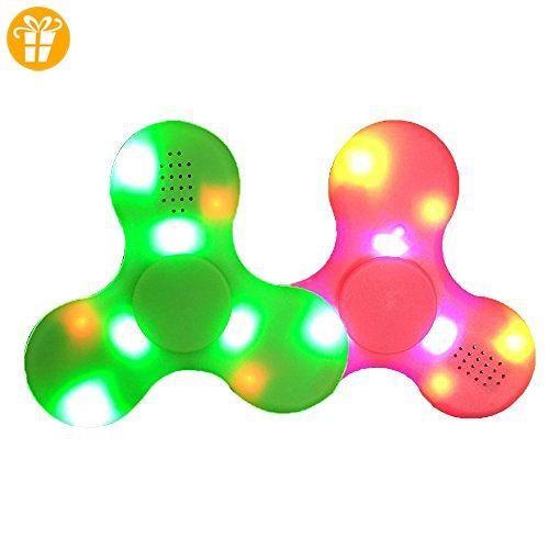 Fidget Spinner Leuchtend, Ceston 2-in-1 Fidget Fingerspinner LED mit Bluetooth Musik Lautsprecher Neu 2017 (2 pack_Rosa + Grün) - Fidget spinner (*Partner-Link)