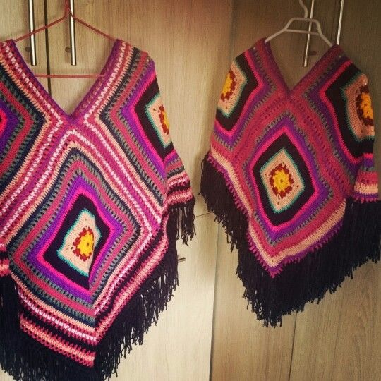 Ponchos a crochet  Mamá e hija!!!