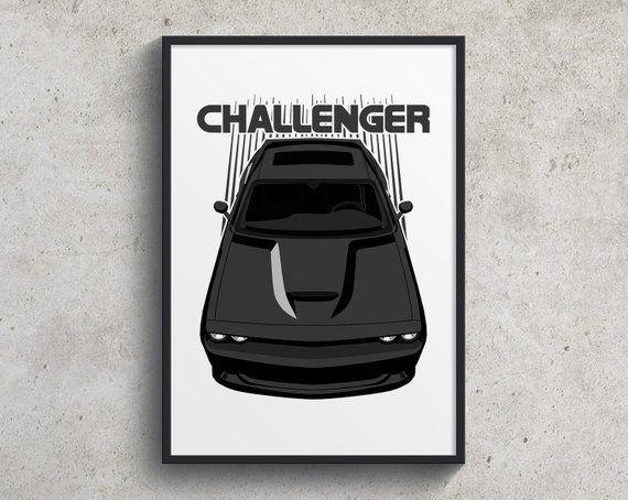 Dodge Challenger Srt 2015 To 2018 Poster Black Challenger Etsy Dodge Challenger Dodge Challenger Srt Challenger