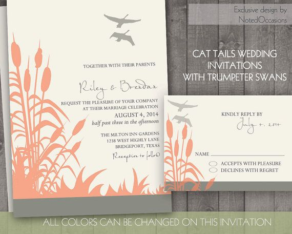 Outdoor Themed Wedding Invitations: Cattails With Trumpeter Swans