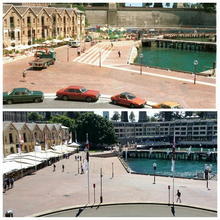 Circular Quay West, with the old Metcalfe Bond buildings on the left looking out to Campbells Cove 1987 > 2016 with the Park Hyatt Sydney now prominent on the Cove. [City of Sydney Archives > Allan Hawley. By Allan Hawley]